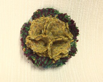 Welsh tweed flower brooch, corsage in green and mustard yellow