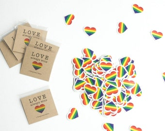 10 Rainbow Pride Hearts, Party Pack of Temporary Tattoos! Rainbow LBGT Hearts Party Favors, Love Wins, Love is Love, LBGT Tattoo, Gay Tattoo