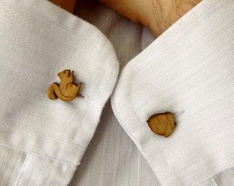 Cufflinks - Wedding cufflinks - Wood Cufflinks - Groom Wedding - lasercut wooden cufflinks - 5 year anniversary - cufflinks for men