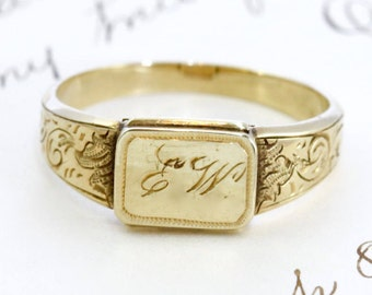 Antique Locket Signet Ring, Victorian 14k Yellow Gold, Rare Love Token Gift Engraved Initials E. W., Dated December 24, 1853, Bridal Jewelry