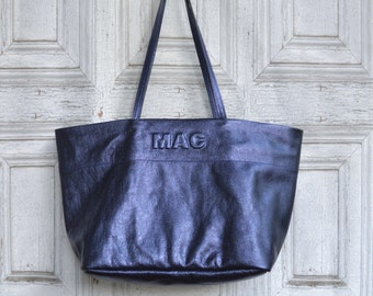 Custom soft leather Tote bag metallic sapphire / monogrammed / handbag / personalized / market tote bag