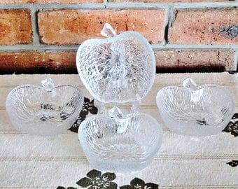 Four Italian glass apple shaped dessert bowls, serving dishes, 1970s vintage