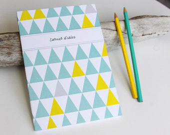 LARGE sea green and yellow TRIANGLES design book