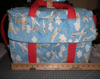 Diaper Bag & Changing Pad made with Airplane Fabric