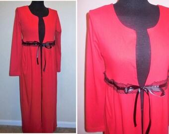 Duster Cardigan Medium Size Cotton Red Long Sleeve Long Jacket Knit Coat Tops Vintage Clothing