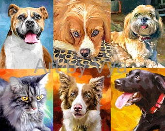 Custom Portrait Pet Portrait dog Portrait Custom Pet Portrait Custom dog portrait family Portrait Pet Portrait custom pet painting dog print