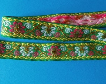 Green, pink and white woven stripe (ref 825 66 07)