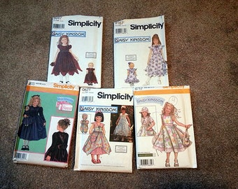 5 Vintage DAISY KINGDOM Sewing Patterns for Girls & Dolls