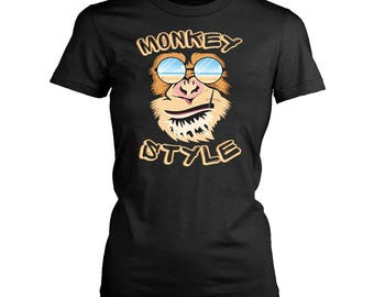 Monkey womens fit T-Shirt. Funny Monkey shirt.