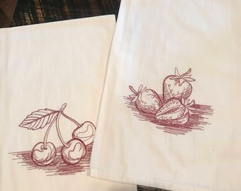 Pair of fruit flour sack towels