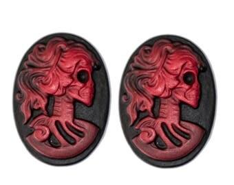 lot 2 cameo Lady skeleton skull skull steampunk vintage old red cabochon 18x25mm