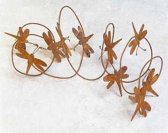 Rusty Tin Dragonfly Garland, Rusty Garland, Dragonflies, Primitive Decor, Craft Supplies