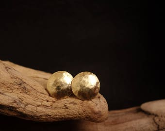 Earrings Brass Gold round hammered geometric