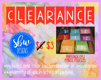 CLEARANCE Personalized Pencil Pouch, Monogram School Supplies, Back to School