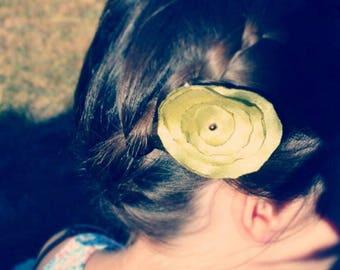 Green satin fabric flower hair clip veil