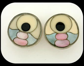 Vintage Heavy MEXICO 925 Sterling Silver Multi Color Mother Of Pearl Clip On EARRINGS