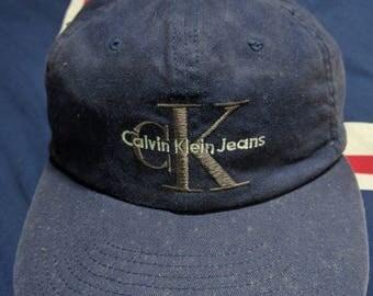 vintage 90s calvin klein jeans snapback cap hat script spell out logo