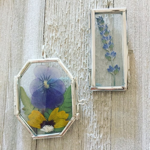 Pansy & Fern Botanical Statement Necklace- Glass Locket Pendent Jewelry- Pressed Floral Necklace- Brass Jewelry- Terrarium Jewelry