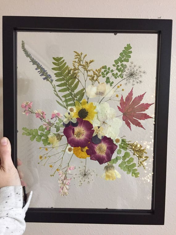 Real Flower Bouquet Art- Pressed Flower Herbarium Art- Botanical Art- Flower Gift- Vintage Botanical Art - Floating Framed FlowerArt