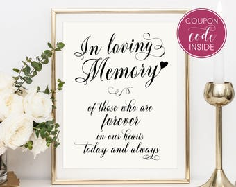 Wedding signage In loving memory sign Wedding memory sign Wedding sign Wedding reception Wedding memorial Ceremony sign Memorial wedding