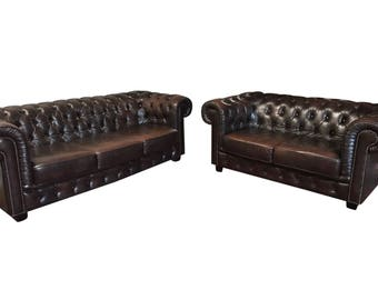 Attractive Leather English Chesterfield Salon Set, Tufted #8097