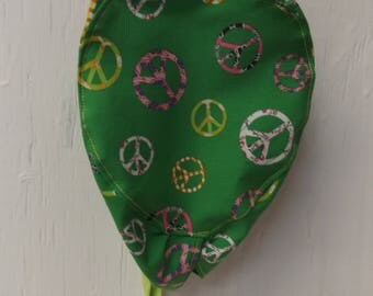 PEACE SIGN Surgeon Cap/Surgical Hat, Multi Color, Handmade.