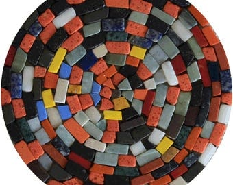 Crazy Tumbled Colorful Fresh Round Handmade Marble Mosaic IN721