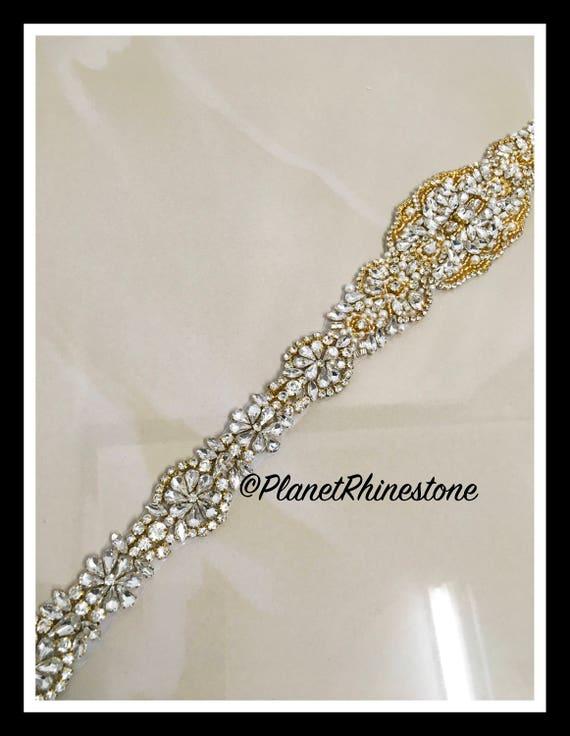 Iron-On Gold Rhinestone Applique #A-22