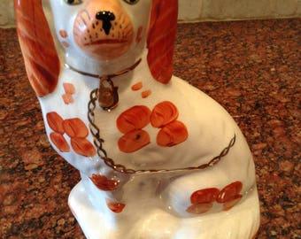 Wonderful STAFFORDSHIRE King Charles Spaniel Dog Figurine White/Rust