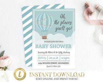 Hot Air Balloon Baby Shower Invite, Printable Invitation, Shower Invitation, Balloon Invitation, Balloon Baby Shower, INSTANT DOWNLOAD