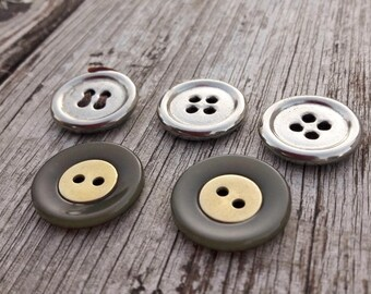 Vintage french buttons, metal buttons, jacket buttons, boutons d'orés, gold colour buttons, silver buttons, blazer buttons