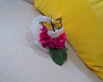 Clip On Butterfly Bridal/Costume Fascinator