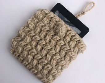 Crochet Kindle Tablet Case - Cream