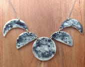 Wax and Wane Moon Phase Necklace - Porcelain and sterling silver