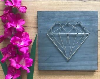 Geometric Diamond Wall/Shelf String Art