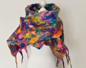 Wool Felted Scarf   Wool Felted Wrap  Colorful Woolly Scarf