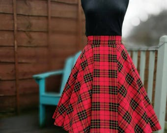 Circle skirt, pinup skirt, tartan skirt, 50s skirt, full skirt, midi skirt, red tartan, plaid skirt, vintage skirt, retro skirt, ready made