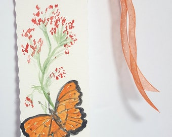 Bookmark, hand painted bookmark, hand made bookmark, birthday bookmark, gift, cadeau, marque-pages, signet peint