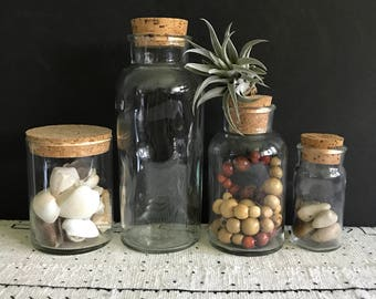 Glass apothecary container, cylinder glass jar, vintage apothecary jar with cork lids - sold individually