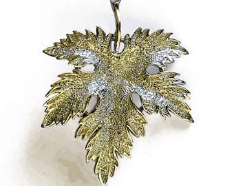 70's Silver Tone Leaf Brooch