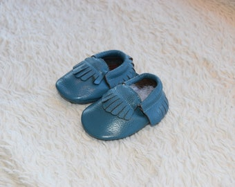 Discounted Baby Moccasins, baby moccasins, Moccasins, Toddler Moccasins, Blue , Leather Baby Moccasins Bow, Boy Moccs, Girl Moccs