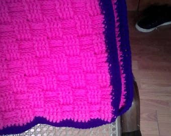 Pink and purple basket weave baby blanket