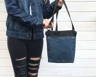 Black and denim blue waxed canvas crossbody bag, Unisex vegan day bag, Solid waxed canvas bag