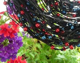 Linen bib necklace,linen necklace,Multi strand necklace,Natural Linen necklace  natural  linen art gift linen black thread red blue beads