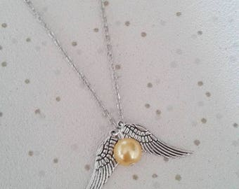 golden snitch necklace harry potter theme charm gifts