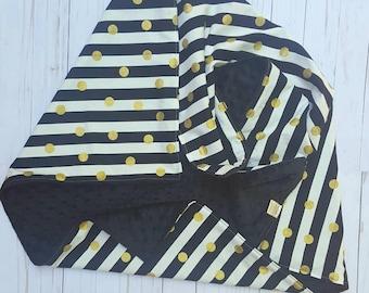 Black and white Baby Blanket- crib bedding, baby shower gift for girl, minky baby blanket, baby bedding, baby nursery, stroller blanket