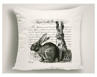 Unique Easter Pillows With Script, Black and White Easter Bunnies  Pillow Covers, Vintage Easter Decorations