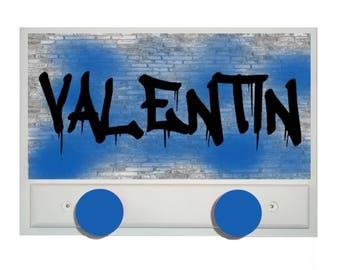 Personalized teen GRAFFITI Blue Coat rack