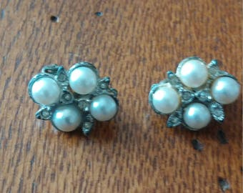 Pearl and Cystal Cluster Clip Earrings