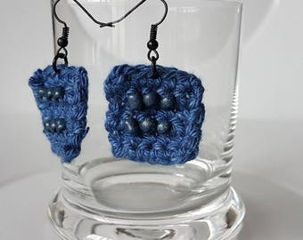 Earrings dangle hook earrings blue marine, earrings, square earrings